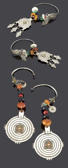 Morocco - Anti Atlas region | Two pairs of temporal hoops; silver, enamel, amber, black stone and glass beads | Sold ~ (May '15)