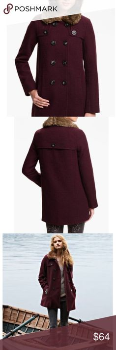 """BP Nordstroms Burgundy Faux Fur collar Coat Faux fur adds a glamorous and cozy accent to a classically styled coat fashioned from a oxblood-hued wool blend. Button front closure. Side pockets. Approx. length from shoulder to hem: 30"""". Wool/acrylic/polyester/nylon with acrylic/polyester faux-fur trim;  Recently dry cleaned. bp Jackets & Coats"""