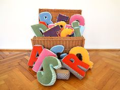 Kissen - NEU! Kuschel Buchstabe, ABC, Buchstaben Kissen - ein Designerstück von maii-berlin bei DaWanda