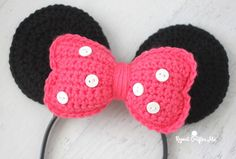 Crochet Minnie Mouse Ears Headband - Repeat Crafter Me