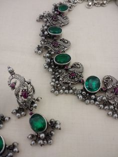 Antique Jewellery, Bridal Jewellery, Ethnic Jewelry, Silver Jewellery, Silver Necklaces, Crystal Necklace, Wedding Jewelry, Jewelery, Jewelry Bracelets