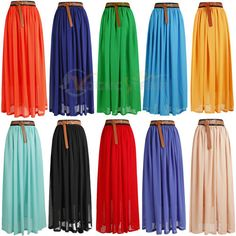 Women's Double Layer Chiffon Pleated Retro Long Maxi Dress Elastic Waist Skirt