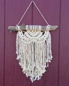 Productive week so far. I will have a bunch of new listings when I get back from vacation! Macrame Design, Macrame Art, Macrame Projects, Macrame Knots, Micro Macrame, Boho Diy, Boho Decor, Yarn Wall Hanging, Wall Hangings
