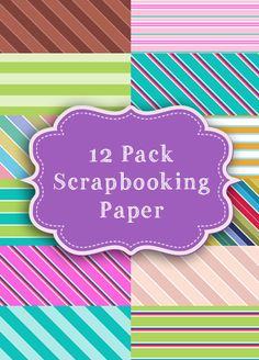 12 Pack of Stripes Scrapbooking Paper by ModernMommsie on Etsy