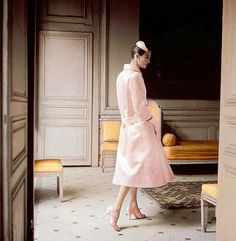 1955 Anne St. Marie in pink silk-satin coat with matching pumps and hat by Dior, photo by Karen Radkai, Vogue,