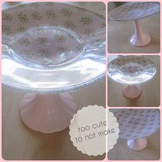 make your own cake plate with cheap candlestick and clear glass plate! spray paint if not cute?