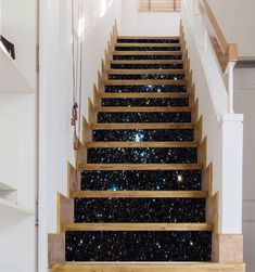 3D Shining Stars Sky 1588 Stair Risers | AJ Wallpaper Wallpaper Stairs, Paper Wallpaper, Self Adhesive Wallpaper, New Wallpaper, Custom Wallpaper, Glitter Stairs, Basement Steps, Salon Interior Design, Stair Risers
