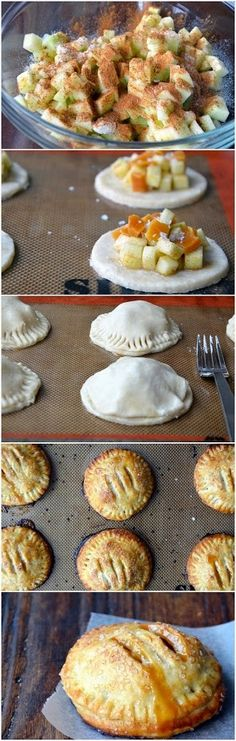 Salted Caramel Apple Hand Pies Recipe ~ Time consuming but delicious! Great for a party or anytime you need finger foods. They're not called hand pies for nothing! Think Food, Love Food, Apple Recipes, Sweet Recipes, Top Recipes, Pumpkin Recipes, Apple Hand Pies, How Sweet Eats, Dessert Recipes
