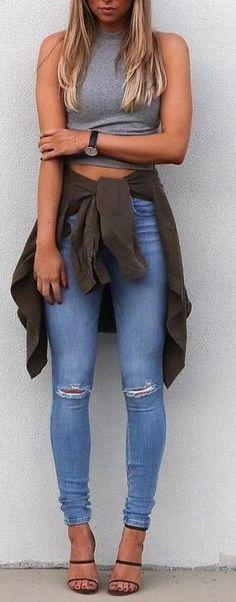 #summer #fblogger #outfits | Grey Tank + Denim