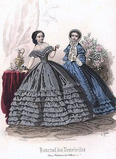 1860 Fashion Plate (a ballgown and a visiting dress) - Here you can see the difference between a ballgown and a visiting dress.  The ballgown is lower cut and sleeveless, however the visiting dress is much more modest.  Can't you just see women of the day leaving their calling cards while attempting to make visits to friends and family?