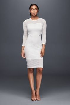 Slip into something effortlessly cool on your wedding day, such as this slim jersey dress with a geometrically textured illusion overlay and sleek illusion sides.   By Aliand Jay  Polyester, spandex  Back zipper; fully lined  Dry clean  Imported