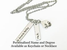Phd Graduation Gifts, Graduation Jewelry, Bar Necklace, Charm Necklaces, Jewelry Cleaning Solution, Name Gifts, Birthstone Charms, Keep Jewelry, Hand Stamped Jewelry