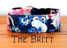 "Navy Lace with Pink Modern Floral Dog Collar ""The Britt"" by PuddleJumperPups on Etsy https://www.etsy.com/listing/235190713/navy-lace-with-pink-modern-floral-dog"