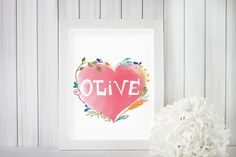Hand-drawn names . Watercolor Heart, Watercolour, Gifts For Kids, Great Gifts, Printable Art, Printables, Personalised Gifts Handmade, Heart Print, Different Colors