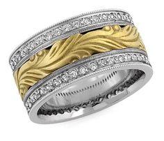 ApplesofGold.com - Hand Carved Paisley Diamond Wedding Band, 14K Two-Tone Gold Jewelry $2,175.00