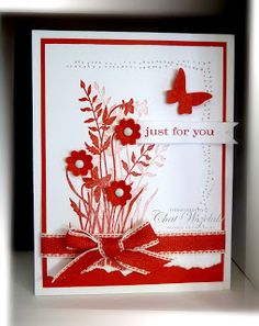 red/white; LOVE! added butterfly & flowers - good dimension but still basically flat; Me, My Stamps and I: Consider It Cased 129
