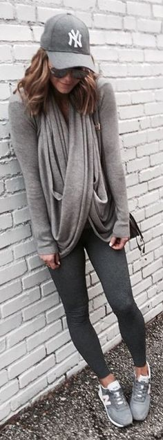 Grey Cap / Grey Scarf / Grey Knit / Dark Leggings / Grey Sneakers