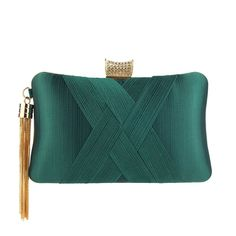 Modest / Simple Dark Green Ruffle Square Clutch Bags 2020 Wedding Purse, Fringe Bags, Satin Material, Evening Bags, Evening Dresses, Womens Purses, Birthday Gifts, Shoulder Bags, Simple