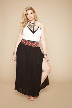 FOREVER 21+ Plus Size Side-Slit Maxi Skirt