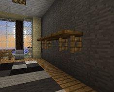 Minecraft Furniture - Storage - those shelf brackets! Open Gates and trap doors combine to deliver a stunning shelf design.