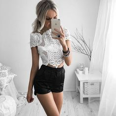 Kirsty Fleming, summer outfit, lace white bluse, black high waisted shorts,  Pinterest: @Gabriellaburkee ♡