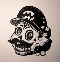 Because we love skulls, the Day of the Dead and Mario, here's Johnathan Koshi's delightful Mario sugar skull. Illustrations, Illustration Art, Dessin Old School, Sabre Laser, Handpoke Tattoo, Sugar Skull Art, Sugar Skulls, Frida Art, Sweet Station