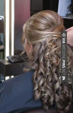 small curls would fall within the hour and then it would be perfect wedding hair half up half down bridal hairdo Curly Wedding Hair, Wedding Hair Down, Wedding Hair And Makeup, Hair Makeup, Wedding Nails, Curly Hair, Up Hairstyles, Pretty Hairstyles, Wedding Hairstyles