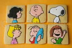 Peanuts Gang decorated sugar cookies~ by color me cookie Charlie Brown, Snoopy, Lucy, Linus, Sally, Peppermint Patty #cookieart