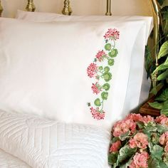 Bring a warm sunny day inside with the Summer Geraniums pillow cases by Dimensions. A combination of stamped cross stitch and embroidery is used to create this cheerful design. Finished size: x each, set of This stamped cross stitch kit contains: Cross Stitching, Cross Stitch Embroidery, Cross Stitch Patterns, Pillow Embroidery, Pink Geranium, Sweet Blossom, Red Geraniums, Cross Stitch Pillow, Tricot