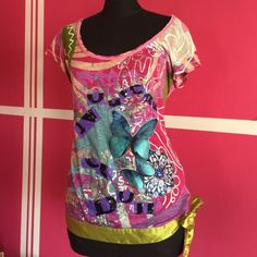 Desigual multi media tee shirt BARCELONA Purchased in Barcelona from my mom. Silk waist tie around the bottom. In pre loved condition. Desigual Tops