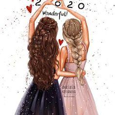 Happy New 2020 Year by Nastya Kosyanova Beautiful Girl Drawing, Cute Girl Drawing, Cartoon Girl Drawing, Girl Cartoon, Friends Sketch, Drawings Of Friends, Best Friend Sketches, Cute Best Friend Drawings, Best Friend Pictures