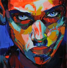 NEW COLORFUL PORTRAITS BY FRANÇOISE NIELLY  Françoise Nielly's painting is expressive, exhibiting a brute force, a fascinating vital energy. Oil and knife combine tsculpt her images from a material that is , at the same time, biting and incisive, charnel and sensual. Whether she paints the human body or portraits, the artist takes a risk: her painting is sexual, her colors free, exuberant, surprising, even explosive, the cut of her knife incisive, her color pallet dazzling.