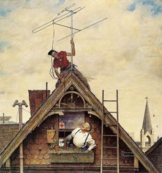 Original Norman Rockwell Paintings | Norman Rockwell New Television Antenna, Saturday Evening Post Cover