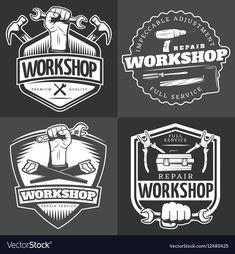 Vintage Repair Workshop Logo Set vector image on VectorStock Maintenance Logo, Logo Clipart, Logo Samples, Service Logo, Woodworking Logo, Logo Sign, Shop Logo, Art Drawings Sketches, Metal Signs