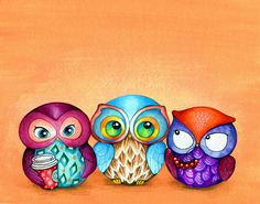 Autumn Owl Trio - Painting by Annya Kai - Colorful Fabric Birds with Berries and Starbucks Coffee. $18.00, via Etsy.