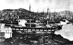 San Francisco's Yerba Buena Cove filled with abandoned ships during the Gold Rush. (courtesy of San Francisco National Maritime Historical Park) Save The Bay, Book Background, Abandoned Ships, California History, Gold Rush, The Good Old Days, Bay Area, Paris Skyline, San Francisco
