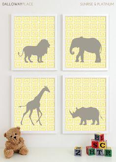 Baby Nursery Art, Safari Animal Nursery Print, Jungle Zoo Children Kids Wall Art Elephant Kids Room Playroom Baby Nursery Decor - Four 8x10