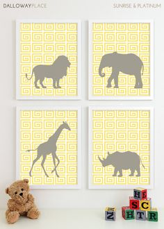Baby Nursery Art, Safari Animal Nursery Print, Jungle Zoo Children Kids Wall Art Elephant Kids Room Playroom Baby Nursery Decor - Four 8x10