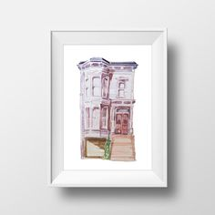Wall Art Watercolor Full House Building by WatercolorWall on Etsy
