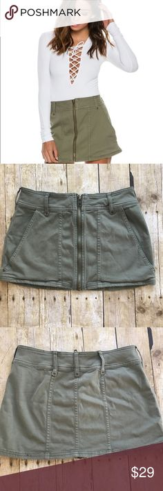 """Free People Too Cool Military Skirt Size 2. In like new condition. Length is approx 12"""" & waist is approx 13"""".  Be sure to check out the rest of my closet. I am always open to offers made through the offer button & will always send a private offer on any bundles that are made. Everything you buy from my closet is smoke free & pet free. Sorry, I am not interested in trading. Please do not hesitate to ask any questions you may have.❤️☔️🌸 Free People Skirts Mini"""