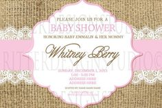 Burlap and Pink Baby Shower Invitation