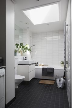 Wakening to the first true sunshine of the year, there's nothing better than stepping into a bathroom filled with warming light thanks to VELUX windows. Beach House Bathroom, Bathroom Windows, Bathroom Plans, Bathroom Ideas, Tiny Bathrooms, Roof Window, Shower Cubicles, Living Spaces, New Homes
