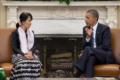 President Barack Obama meets with Burmese Opposition Leader Aung San Suu Kyi 2012-09-19. Aung San Suu Ky.  FAMOUS AS: Political Leader (Freedom Fighter) of Myanmar  BORN ON: 19 June 1945  BORN IN: Yangon (Rangoon), Burma (Myanmar)  NATIONALITY: Myanmar  WORKS & ACHIEVEMENTS: Leader of the National League for Democracy; Nobel Peace Prize Winner (1991)