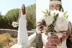 XAVI + DANAE « MissMrs. Vestido Cymbeline. Diadema de YolanCris. Ramo de peonias.