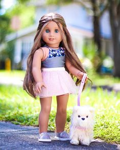 Image may contain: 1 person, child and outdoor American Girl Doll Costumes, Custom American Girl Dolls, American Girl Doll Pictures, My American Girl Doll, American Girl Clothes, Girl Doll Clothes, American Girl Hairstyles, Baby Girl Party Dresses, America Girl
