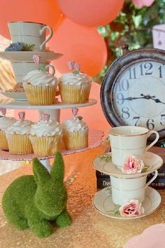 Take a look at this wonderful Alice in Wonderland 1st birthday party! The cupcakes are delightful! See more party ideas and share yours at CatchMyParty.com Alice In Wonderland Cupcakes, Alice In Wonderland 1, Wonderland Party, Vanilla Cupcakes, Chocolate Cupcakes, Tea Party Birthday, Girl Birthday, Cupcake Images, Cupcake Bakery