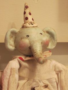 Set of Two Primitive Elephant Dolls with PaperClay Heads