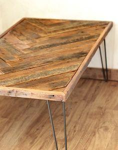 Herringbone Coffee Table With Hairpin Legs - Repurposed Wood - Barn Wood…