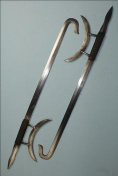 chinese crescent sword  | Antique Chinese swords Very rare Shuang Gao Tiger head hook swords ...