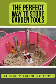 Want to take care of your garden tools? Here's the best way to do it and the next best thing if you just don't have time. Don't have time to store your garden tools the perfect way? Don't worry, I have you covered with a quickie method that works too. Storing Garden Tools, Best Garden Tools, Garden Tool Storage, Vegetable Garden Planning, Home Vegetable Garden, Organic Gardening, Gardening Tips, Yard Tools, Tools Tools